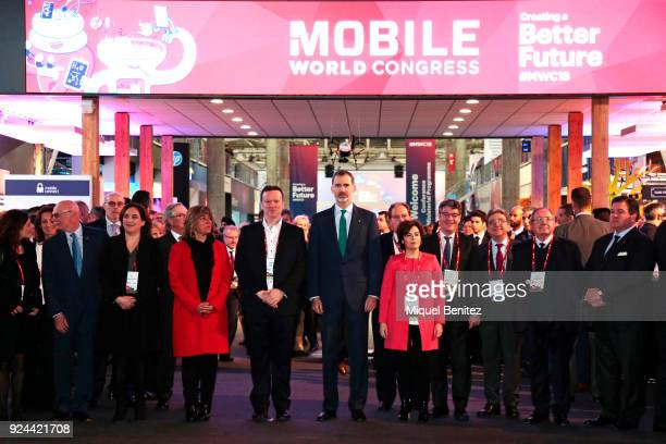 King Felipe VI of Spain Barcelona's Major Ada Colau Hospitalet's Major Nuria Marin and Soraya Saenz de Santamaria attend the opening of the Mobile...