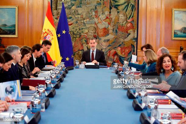 King Felipe VI of Spain chairs the National Security Committee meeting at the Zarzuela Palace in Madrid on March 4 2020