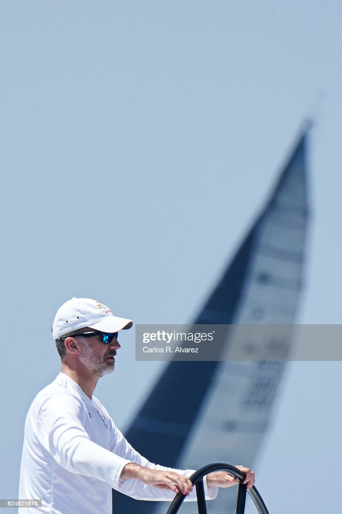 King Felipe VI of Spain compites on board of Aifos during the 36th Copa Del Rey Mapfre Sailing Cup on July 31, 2017 in Palma de Mallorca, Spain.