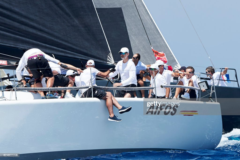 King Felipe VI of Spain (C) compites on board of Aifos during the 36th Copa Del Rey Mapfre Sailing Cup on July 31, 2017 in Palma de Mallorca, Spain.