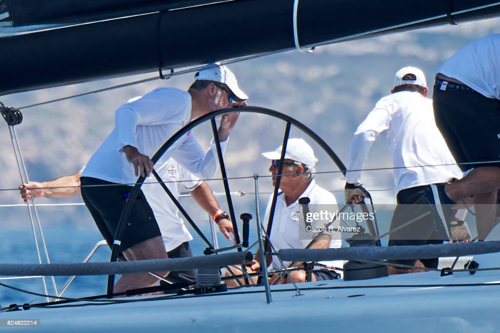 King Felipe VI of Spain (L) compites on board of Aifos during the 36th Copa Del Rey Mapfre Sailing Cup on July 31, 2017 in Palma de Mallorca, Spain.
