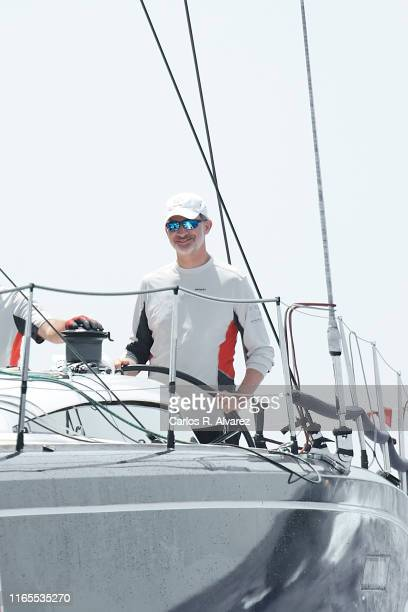 King Felipe VI of Spain compites on board of Aifos during the 38th Copa del Rey Mapfre Sailing Cup on August 01, 2019 in Palma de Mallorca, Spain.