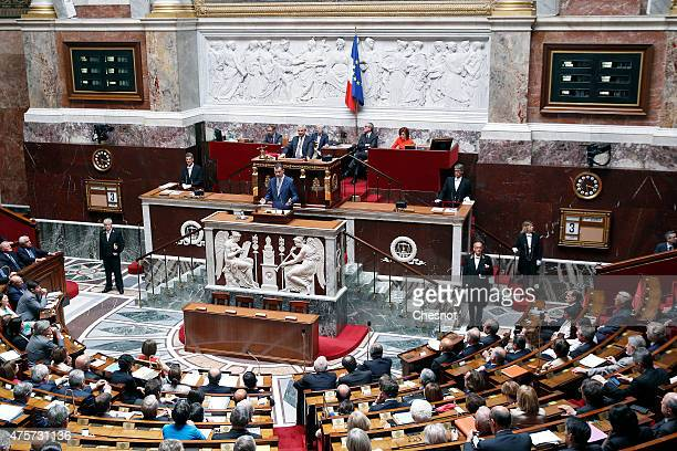 King Felipe VI of Spain delivers a speech at the French National Assembly on 03 June 2015 in Paris, France. Felipe VI of Spain and Queen Letizia of...