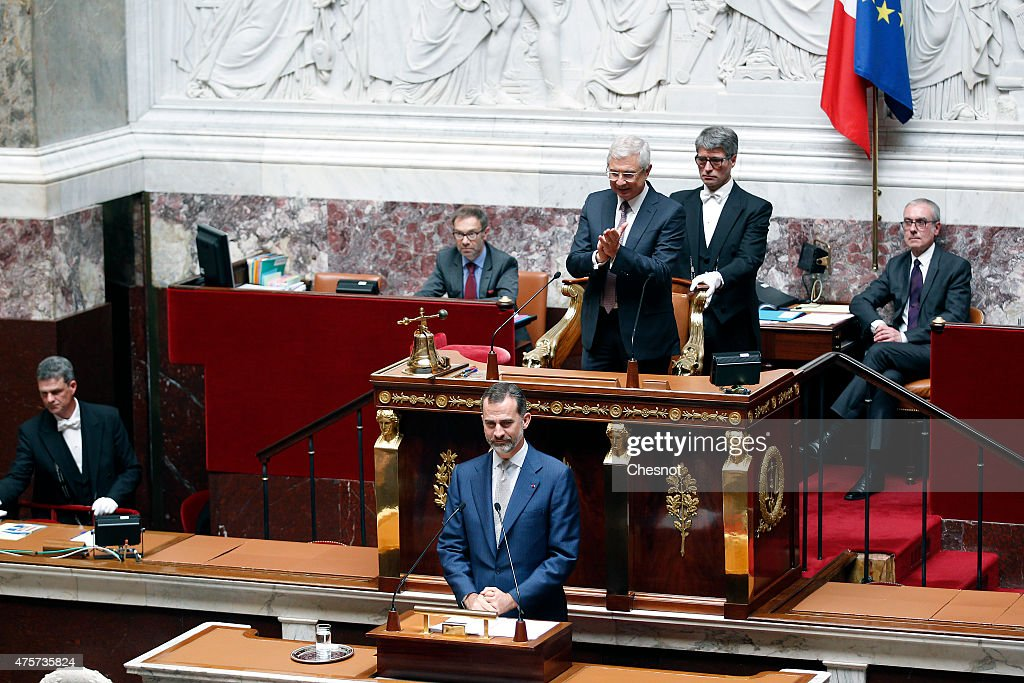 King Felipe VI of Spain delivers a speech at the French National Assembly on 03 June 2015 in Paris, France. Felipe VI of Spain and Queen Letizia of Spain are on a three-day visit in France. Originally scheduled for March 24, this visit had to be suspended after Germanwings flight 9525 crashed in the French Alps.