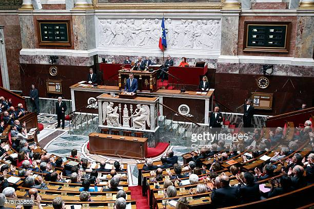 King Felipe VI of Spain delivers a speech at the French National Assembly on 03 June 2015 in Paris France Felipe VI of Spain and Queen Letizia of...