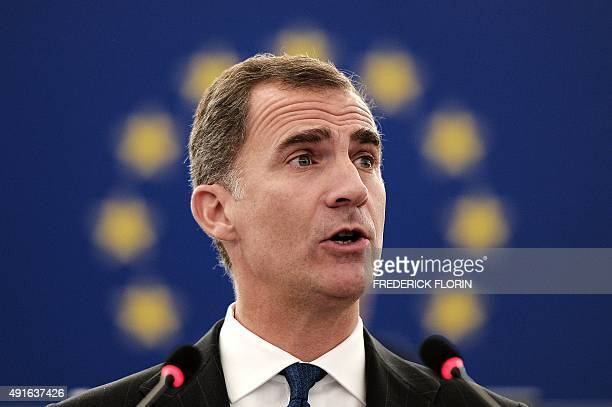 King Felipe VI of Spain delivers a speech during a plenary session of the European Parliament on October 7 2015 in Strasbourg eastern France AFP...