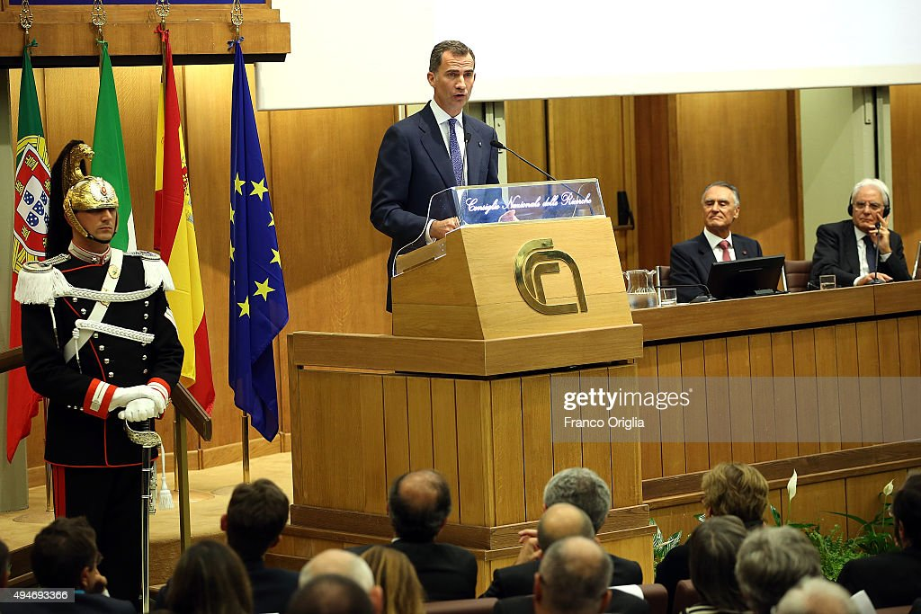 King Felipe VI of Spain And King Juan Carlos of Spain Attend The COTEC Meeting In Rome : News Photo