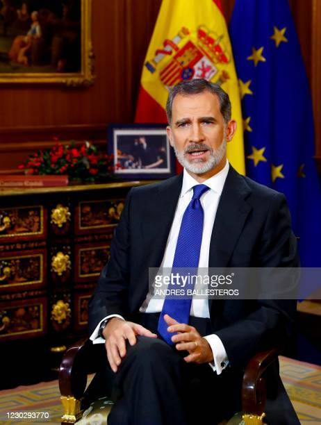 King Felipe VI of Spain delivers his traditional Christmas speech, recorded on December 22, 2020 at La Zarzuela palace in Madrid, and publicly...