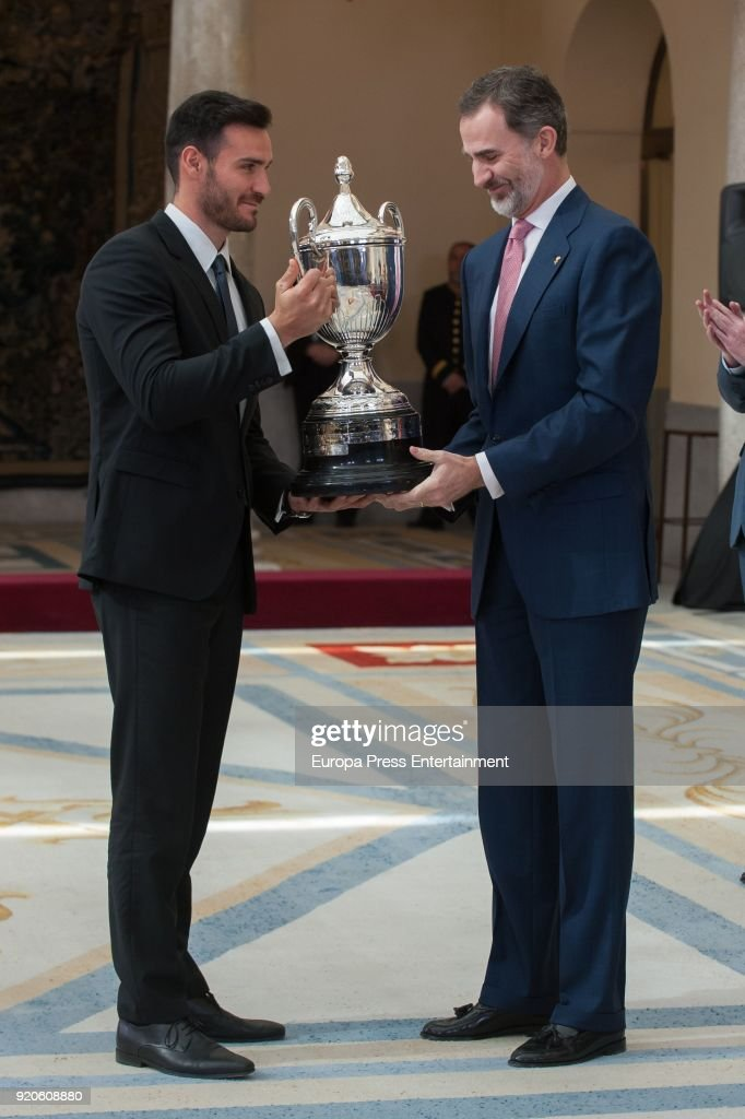 King Felipe VI of Spain delivers to Saul Craviotto the National Sports Awards at El Pardo Palace on February 19, 2018 in Madrid, Spain.