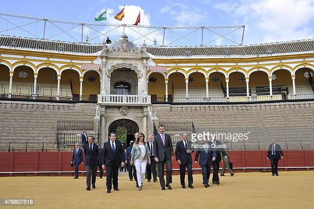 King Felipe VI of Spain enters with the President of Andalucia Susana Diaz and the Mayor of Seville Juan Ignacio Zoido the Real Maestranza of Seville...
