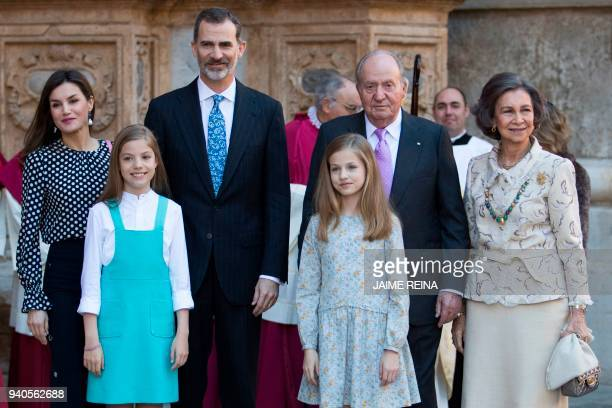 King Felipe VI of Spain , his wife Queen Letizia , their daughters Princess Sofia and Princess Leonor , former King Juan Carlos I and his wife former...