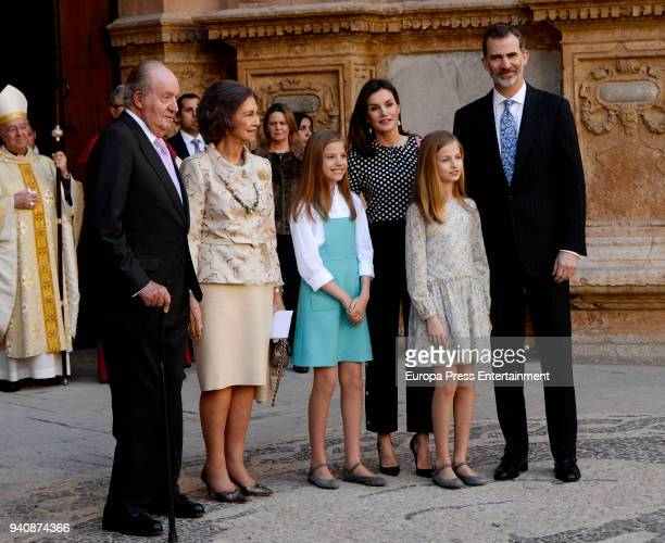 King Felipe VI of Spain his wife Queen Letizia their daughters Princess Sofia and Princess Leonor former King Juan Carlos I and his wife former Queen...