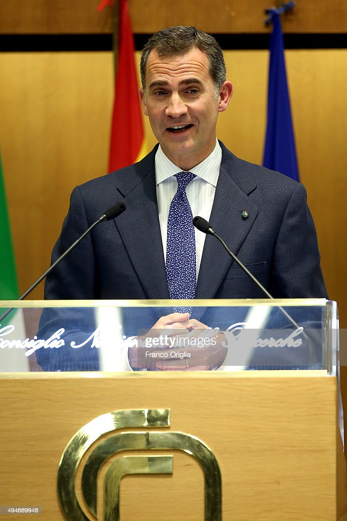 King Felipe VI of Spain holds his speech during the 10th Cotec Symposium meeting on October 28, 2015 in Rome, Italy.