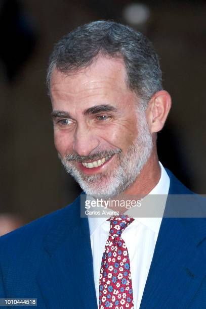 King Felipe VI of Spain hosts a dinner for authorities at the Almudaina Palace on August 3 2018 in Palma de Mallorca Spain