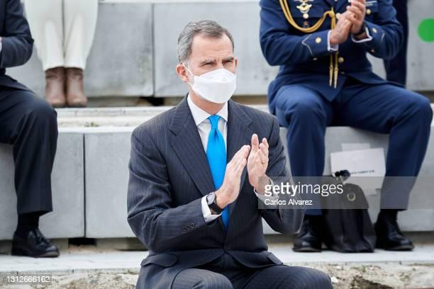 King Felipe VI of Spain inaugurates the new Airbus Campus on April 15, 2021 in Getafe, Spain.