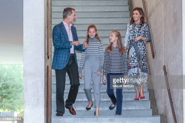 King Felipe VI of Spain Infanta Sofia de Borbon Princess Leonor de Borbon of Spain and Queen Letizia Ortiz of Spain attend the El Talento Atrae Al...