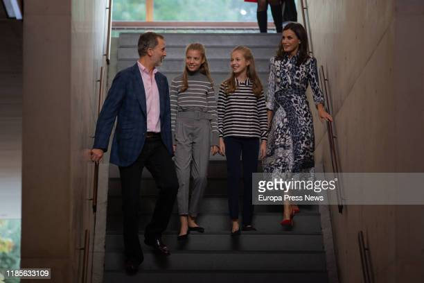King Felipe VI of Spain, Infanta Sofia of Spain, Princess Leonor of Spain and Queen Letizia of Spain are seen arriving to the inauguration of 'Talent...