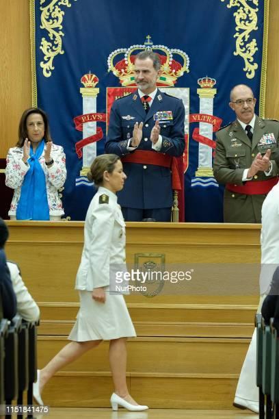 King Felipe VI of Spain is seen arriving to the Higher School of The Armed Forces on June 25, 2019 in Madrid, Spain.