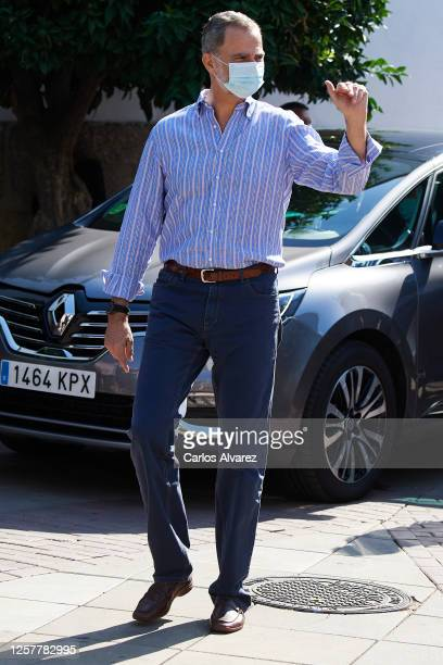 King Felipe VI of Spain is seen leaving from the Parador of Merida on July 23, 2020 in Merida, Spain. This trip is part of a royal tour that will...