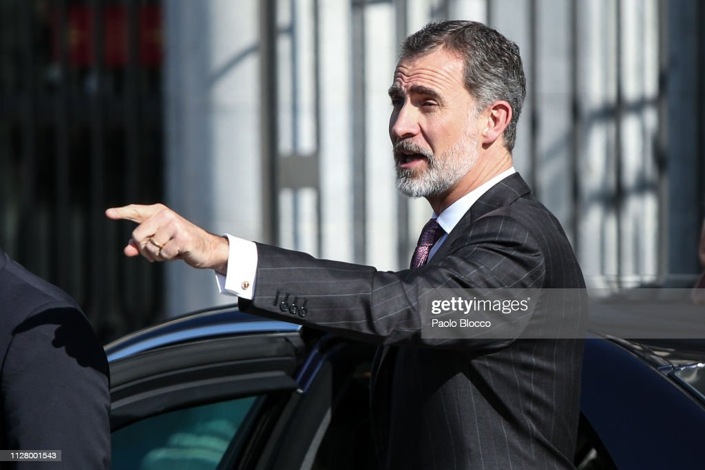ESP: Spanish Royals Arrive at Royal Theatre in Madrid