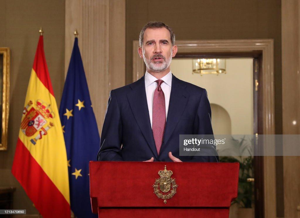 King Felipe Of Spain Speaks To The Nation Due To Covid-19 Crisis : Nachrichtenfoto