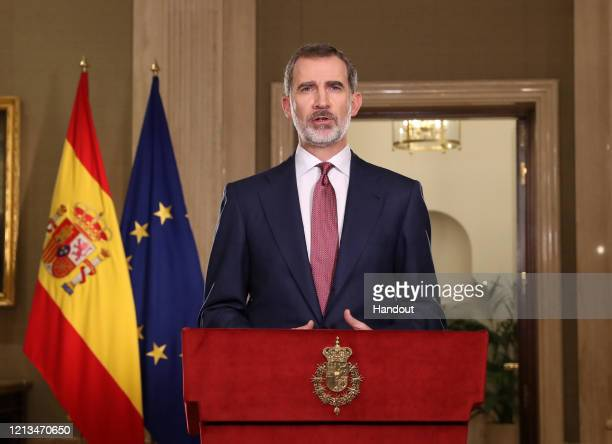 King Felipe VI of Spain is seen speaking to the nation during Covid19 crisis also known as Coronavirus crisis at Zarzuela Palace on March 18 2020 in...