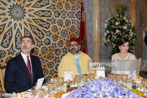 King Felipe VI of Spain , King Mohammed VI of Morocco and Queen Letizia of Spain attend a Gala dinner at the Royal Palace on February 13, 2019 in...