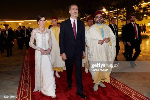 King Felipe VI of Spain King Mohammed VI of Morocco and s attend a Gala dinner at the Royal Palace on February 13 2019 in Rabat Morocco The Spanish...