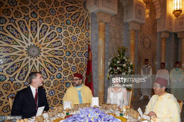 King Felipe VI of Spain, King Mohammed VI of Morocco, Queen Letizia of Spain and Prince Moulay Rachid of Morocco attend a Gala dinner at the Royal...