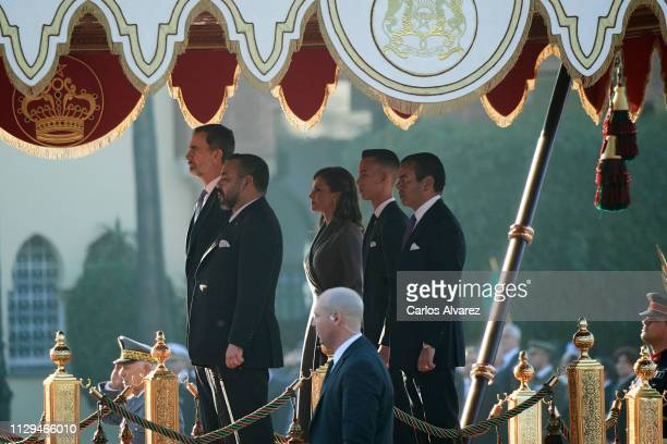 King Felipe VI of Spain, King Mohammed VI of Morocco, Queen Letizia of Spain, Prince Moulay Hassan of Morocco and Prince Moulay Rachid of Morocco...