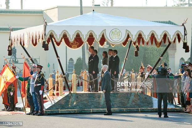 King Felipe VI of Spain King Mohammed VI of Morocco Queen Letizia of Spain Prince Moulay Hassan of Morocco and Prince Moulay Rachid of Morocco attend...