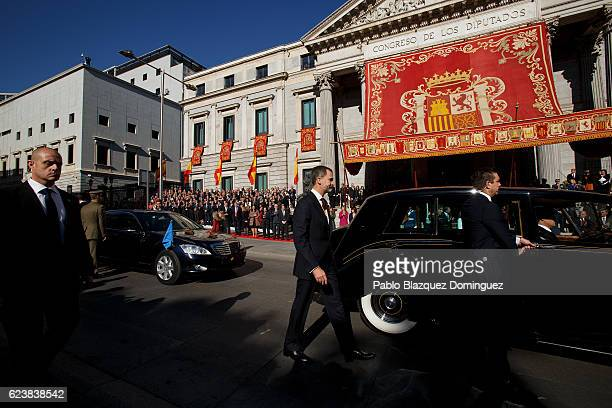 King Felipe VI of Spain leaves after watching the military parade at the end of the solemn opening of the twelfth legislature at the Spanish...