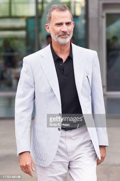 King Felipe VI of Spain leaves the clinic on August 25, 2019 in Pozuelo de Alarcon, Spain.