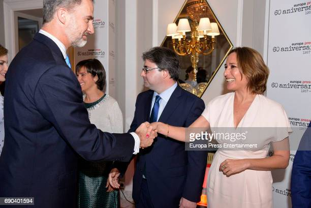 King Felipe VI of Spain Lucia Ribera Luis Miguel Merino and Dolores Muriel attend Europa Press news agency 60th Anniversary at the Villa Magna hotel...