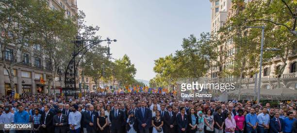 King Felipe VI of Spain marches during a demonstration against the last week's terrorist attacks on August 26 2017 in Barcelona Spain Hundreds of...