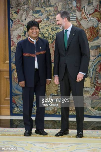 King Felipe VI of Spain meets president of Bolivia Evo Morales at Zarzuela Palace on March 16 2018 in Madrid Spain