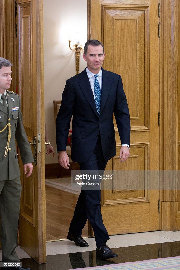 King Felipe VI of Spain meets Spanish figure skater Javier Fernandez at Zarzuela Palace on April 22, 2016 in Madrid, Spain.
