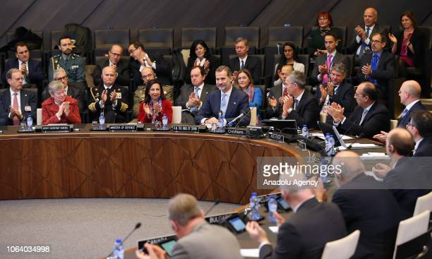 King Felipe VI of Spain NATO Secretary General Jens Stoltenberg and Defense Minister of Spain Margarita Robles attend a meeting at NATO Headquarters...