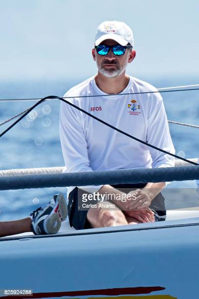 King Felipe VI of Spain on board of Aifos during the 36th Copa Del Rey Mafre Sailing Cup on August 3 2017 in Palma de Mallorca Spain