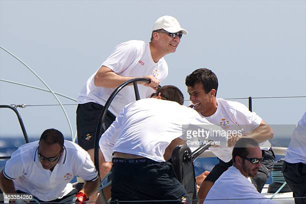 King Felipe VI of Spain on board of the 'Aifos' during the 33th Copa del Rey Mapfre Sailing Cup day 6 on August 9 2014 in Palma de Mallorca Spain