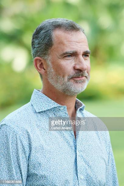 King Felipe VI of Spain poses for the photographers during the summer photocall at the Marivent Palace on August 04, 2019 in Palma de Mallorca, Spain.