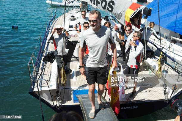 King Felipe VI of Spain poses on board of Aifos the Royal Nautic Club during the 37th Copa del Rey Mapfre Sailing Cup on July 31 2018 in Palma de...