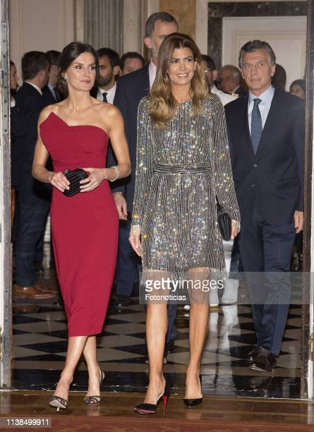 King Felipe VI of Spain, President of Argentina Mauricio Macri, First Lady Juliana Awada and Queen Letizia of Spain attend a reception hosted by...