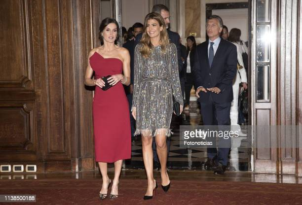 King Felipe VI of Spain, President of Argentina Mauricio Macri, First Lady of Argentina Juliana Awada and Queen Letizia of Spain attend a reception...