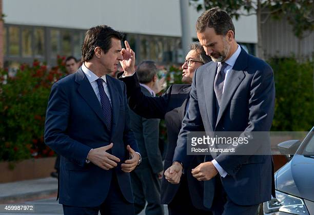 King Felipe VI of Spain President of Catalonia Artur Mas and Spanish Minister for Industry Jose Manuel Soria visit the SEAT Factory on December 5...