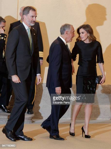 King Felipe VI of Spain President of Portugal Marcelo Rebelo de Sousa and Queen Letizia of Spain attend a reception for President of Portugal on...