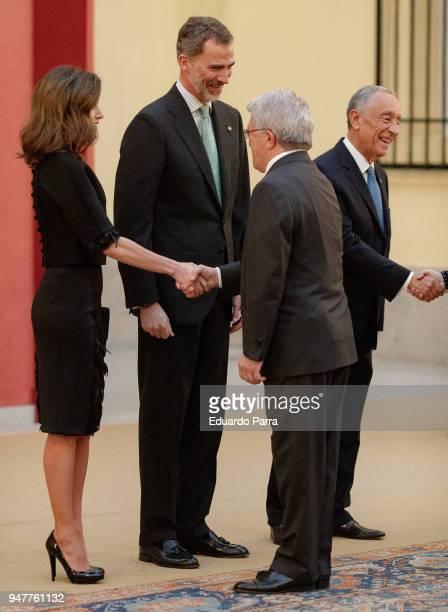 King Felipe VI of Spain President of Portugal Marcelo Rebelo de Sousa Enrique Cerezo and Queen Letizia of Spain attend a reception for President of...