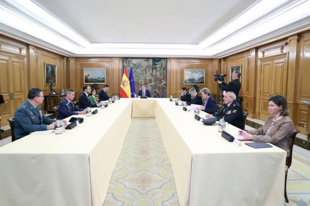 ESP: King Felipe Of Spain And President Pedro Sanchez Meet Technical Management Committee of Coronavirus