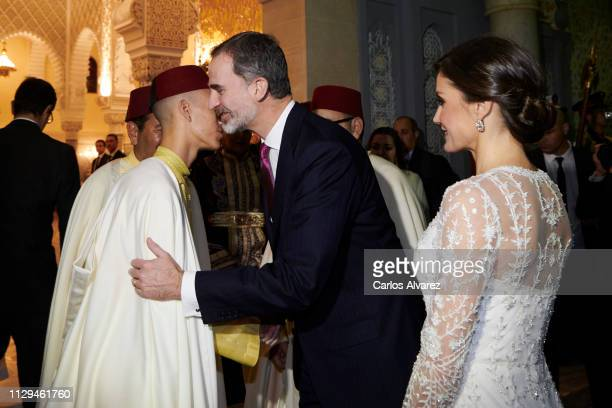 King Felipe VI of Spain , Prince Moulay Hassan of Morocco and Queen Letizia of Spain attend a Gala dinner at the Royal Palace on February 13, 2019 in...
