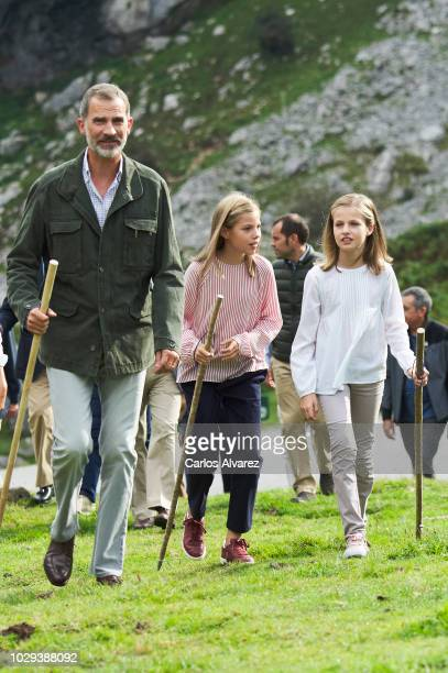 King Felipe VI of Spain Princess Leonor of Spain and Princess Sofia of Spain attend the Centenary of the creation of the National Park of Covadonga's...